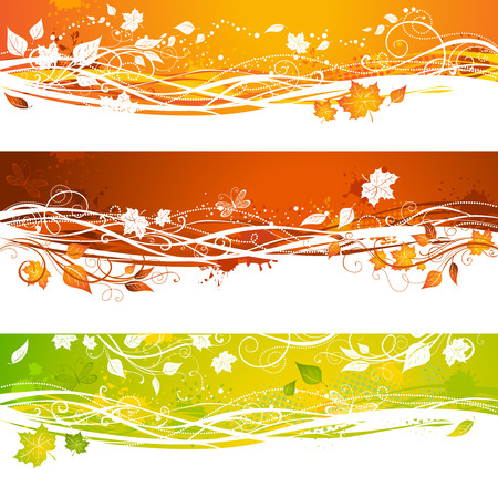 Autumn banners. Bright grunge backgrounds. There is place for your text.