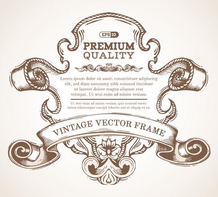 vintage: frame da beira do vintage do vetor com o ornamento retro. emblema desenhado à mão retro com o ornamento retro para decoração da página, convite, felicitações ou cartão. Há lugar para seu texto. Ilustração