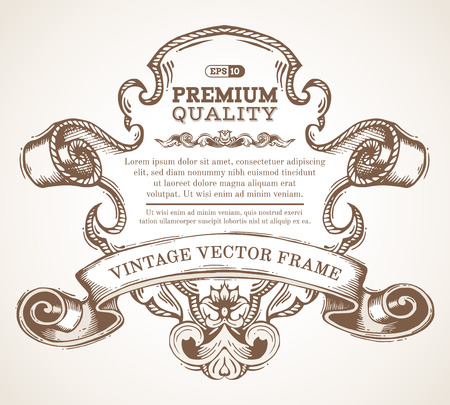 vintage scroll: Vector vintage border frame with retro ornament. Retro hand-drawn badge with retro ornament for page decoration, invitation, congratulation or greeting card. There is place for your text.
