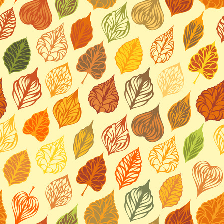 boundless: Vector autumn seamless leaves pattern. Various ornate leaves on light background. Boundless texture can be used for web page backgrounds, wallpapers, wrapping papers or invitations.