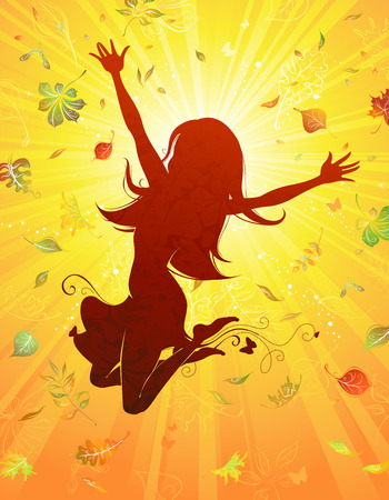 autumn woman: Autumn happiness. Young beautiful woman jumping against the sun. Illustration
