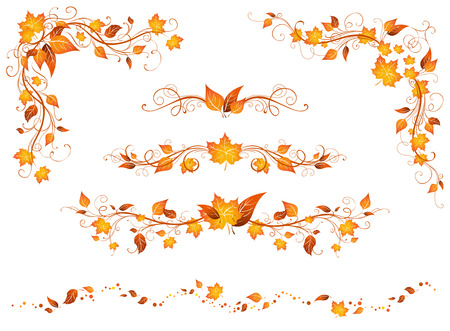 Vintage autumn page decorations and dividers. Ornate design elements with bright autumn leaves isolated on a white background.