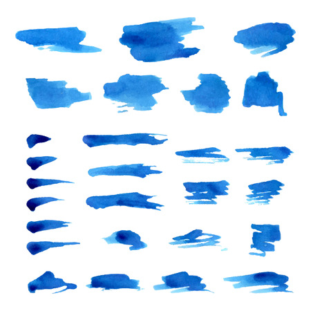 watercolor brush: Vector set of grunge watercolor brush strokes. Paint brush textures isolated on white background.