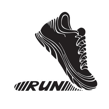 """Running sport schoen symbool. Sport pictogram geïsoleerd op een witte achtergrond. Tekst """"RUN"""" op zijn tong. Vector Illustratie"""