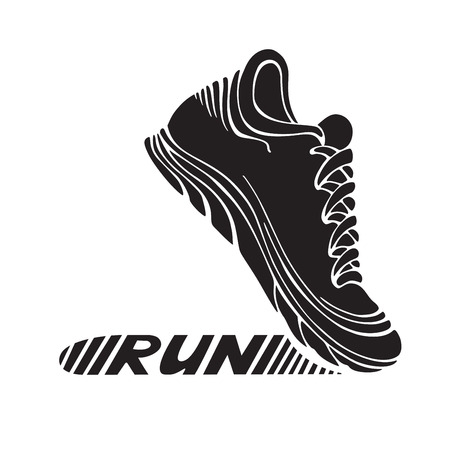 training shoes: Running sport shoe symbol. Sport icon isolated on white background. Text RUN on its sole.