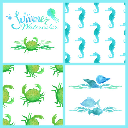 Set of watercolour marine seamless patterns, page decorations and dividers. Summer lettering, blue and green watercolour fish, sea horse, jellyfish, crab, shell, seaweed on white background.  Boundless pattern can be used for web page backgrounds, wallpap