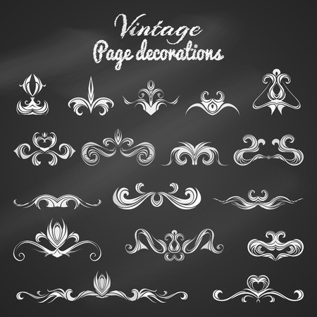 black boards: Vector set of chalk vintage page decorations and dividers. White hand-drawn design elements on blackboard.