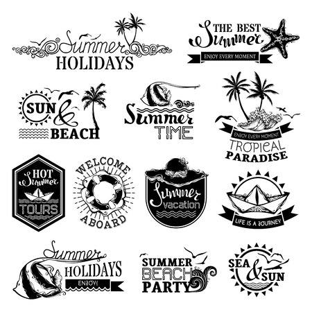 Vector set of summer and travel designs. Labels, emblems, symbols, badges and logo templates. Summer Holidays  Summer Time  The Best Summer  Hot Summer Tours  Welcome Aboard  Summer Vacation  Life is a Journey  Summer Beach Party. Illustration