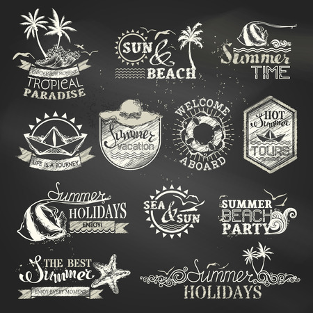 Chalk summer and vacation labels and emblems. Vector travel emblems, symbols, badges and logo templates on blackboard background.