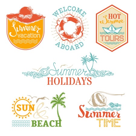 Vector set of summer and vacation labels and emblems. Design elements for Summer Designs. Travel symbols, badges and logo templates isolated on white background.