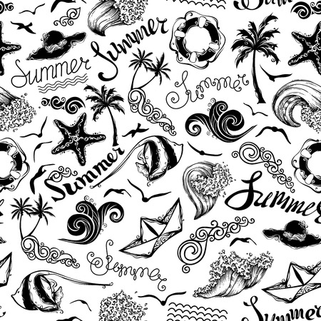 Black and white seamless summer pattern. Set of summer and vacation symbols and hand-written summer lettering on white background. Boundless texture can be used for web page backgrounds, wallpapers, wrapping papers or invitations.