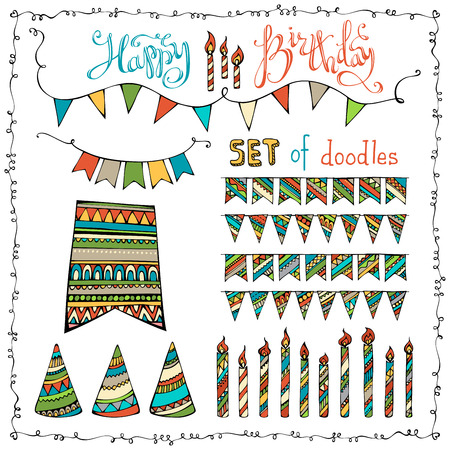 Happy Birthday set. Vector set of doodles festive garlands, candles and party hats isolated on white background.