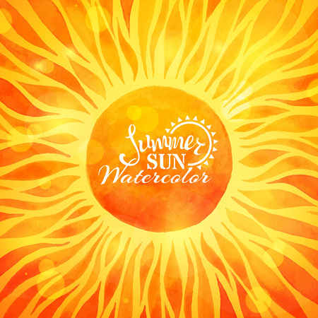 Bright summer sun background. Watercolor sun on bright sunny background. Summer rays and glare. There is place for text in the center of sun.