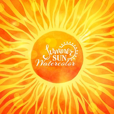 słońce: Jasne słońce tła. Akwarela słońce na jasnym tle słoneczny. Letnie promienie i odblaski. Jest miejsce na tekst w centrum słońca.