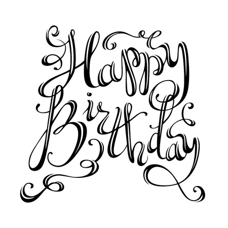 hand with card: Happy Birthday Lettering. Vector hand-written isolated phrase for greeting cards and print invitations.