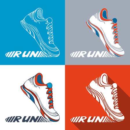 shoe: Vector set of running shoe symbols. Sport pictograms. Text RUN on shoe sole.