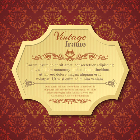 baroque border: Vector vintage frame. Dark retro red background and light yellow badge. There is place for your text in the center.