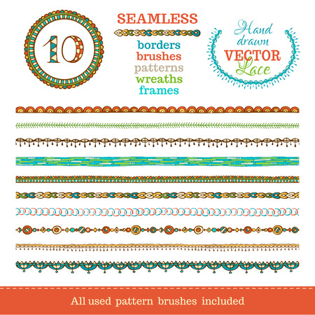 circles pattern: Vector set of seamless doodles geometric borders. Seamless borders can be used for frames, patterns and wreaths. All used pattern brushes are included in brush palette. Illustration