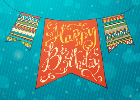 retro party: Happy Birthday card. Hand-written text and bright festive garland.