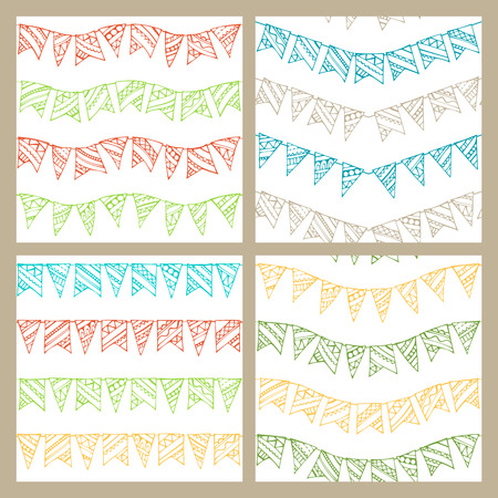 boundless: Set of doodles seamless patterns of garlands. Boundless pattern can be used for web page backgrounds, wallpapers, wrapping papers, invitation, congratulations and festive designs. Palette of swatches is attached. Illustration