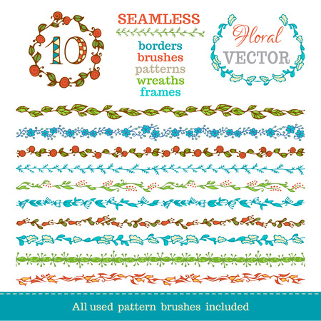vintage retro frame: Vector set of seamless hand-drawn floral borders. Seamless borders can be used for frames, patterns and wreaths. All used pattern brushes are included in brush palette.