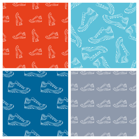 boundless: Vector set of seamless shoes patterns. Linear sport shoes on coloured backgrounds. Outline boundless patterns.