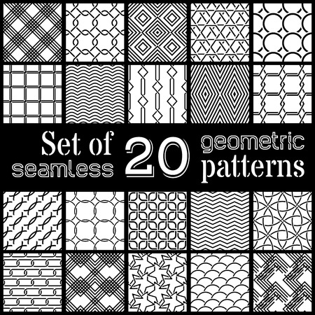 boundless: 20 geometric seamless patterns set. Pattern swatches.  Boundless textures can be used for web page backgrounds, wallpapers, wrapping papers, invitation, congratulation or greeting cards.