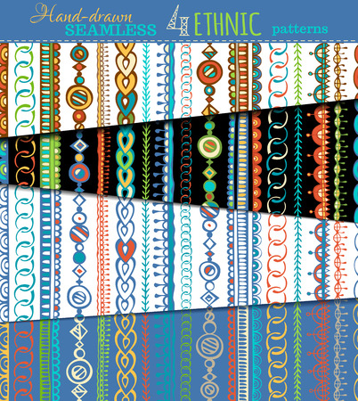 boundless: Set of seamless ethnic patterns. Hand-drawn doodles boundless textures can be used for web page backgrounds, wallpapers, wrapping papers, invitations and congratulations.