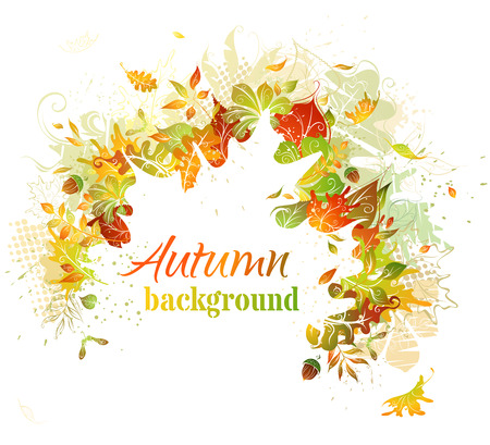 autumn leaves falling: Autumn background. Bright autumn illustration. White leaf silhouette in the center can be used for your text.