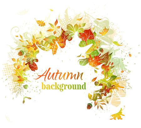 Herfst achtergrond. Heldere herfst illustratie. Wit blad silhouet in het centrum kan worden gebruikt voor uw tekst.