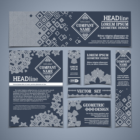 white greeting: Vector set of dark vintage design templates. Can be used for monochrome grey and white greeting cards, invitation or congratulation design. There are places for text.