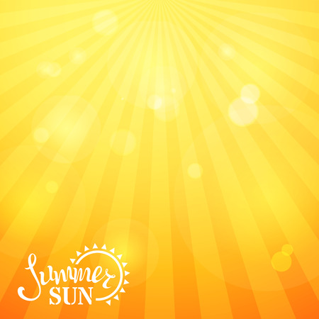 yellow orange: Bright square sunny background. Abstract summer vector illustration. Summer rays and glare. There is place for text. Illustration