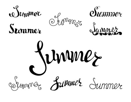Summer lettering. Hand-written summer design. Black words isolated on white background.