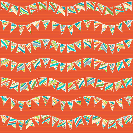 boundless: Seamless pattern of festive garlands. Hand-drawn wave garlands on red background. Boundless texture can be used for web page backgrounds, wallpapers, wrapping papers or invitations.