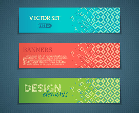 Vector set of banner templates. Blue, red and green designs. There are places for text.