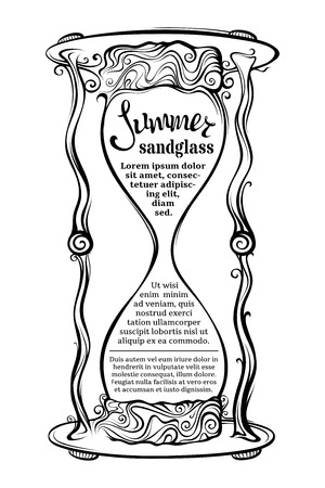 hour hand: Vector sandglass illustration. Black and white hand-drawn illustration. There is place for your text in the center. Illustration