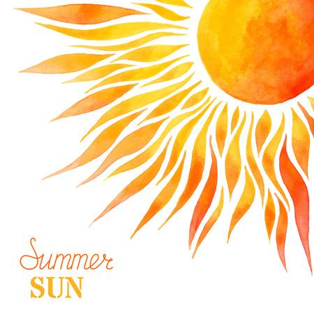 verano: Acuarela sol de verano de fondo. Sol brillante pintado a mano en la esquina derecha sobre fondo blanco. No hay lugar para el texto.