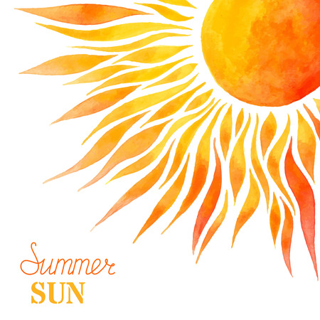 Aquarell Sommersonne Hintergrund. Helle handbemalte Sonne im rechten Ecke auf weißem Hintergrund. Es gibt Platz für Ihren Text.