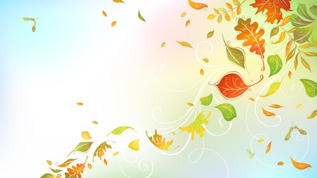 autumn: Falling autumn leaves on bright background. Horizontal autumn background with place for your text. Birch, elm, oak, rowan, maple, chestnut and aspen leaves. Mesh background.