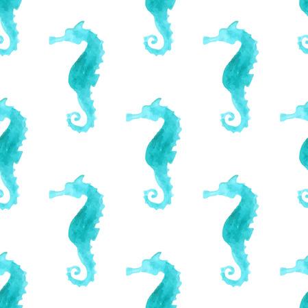 Naadloos aquarel zee-paard patroon. Blauwe aquarel zee-paarden op een witte achtergrond. Grenzeloze achtergrond voor uw ontwerp. Grenzeloze patroon kan worden gebruikt voor Web-pagina achtergronden, behang, het verpakken papers, uitnodiging en zomer ontwerpen.