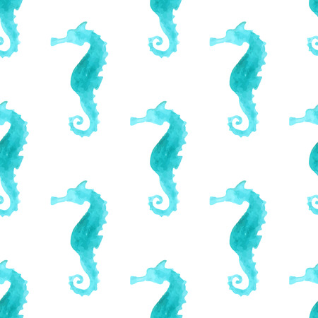 Seamless watercolour sea-horse pattern. Blue watercolour sea-horses on white background. Boundless background for your design. Boundless pattern can be used for web page backgrounds, wallpapers, wrapping papers, invitation and summer designs. Illustration