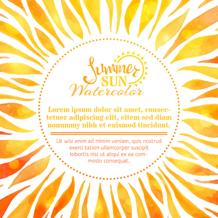 Watercolor summer sun background. Bright hand-painted sun on white background. There is place for your text in the center. Illustration