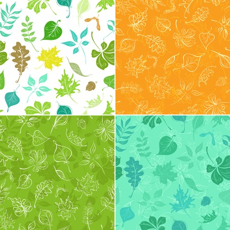 boundless: Set of seamless leaves patterns. Four colourful boundless backgrounds of leaves and their silhouettes. Boundless texture can be used for web page backgrounds, wallpapers, wrapping papers or invitations.