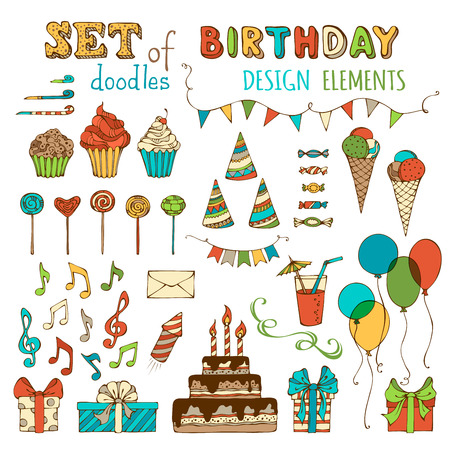Set of doodles birthday design elements. Hand-drawn garlands and balloons, music notes, gift boxes, party blowouts, cakes and candies, birthday pie, party hats and other doodles design elements isolated on white background. Illustration