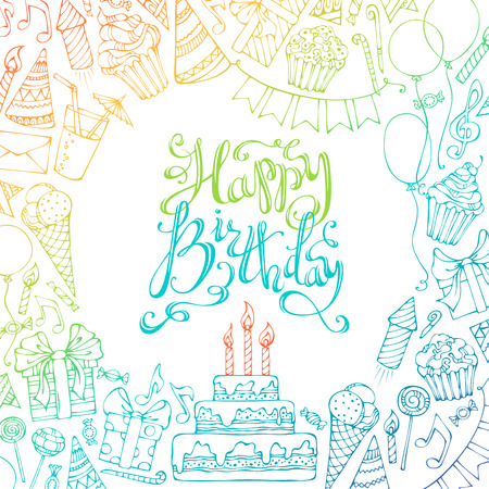 Hand-drawn Happy Birthday square background. Colourful doodles gift boxes, garlands and balloons, music notes, party blowouts, cakes and candies, birthday pie, party hats, hand-drawn lettering Vettoriali