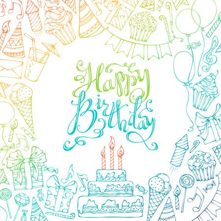 Von Hand gezeichnet Alles Gute zum Geburtstag quadratischen Hintergrund. Bunte kritzelt Geschenk-Boxen, Girlanden und Luftballons, Musiknoten, Party Reifenplatzer, Kuchen und Süßigkeiten, Geburtstagskuchen, Partyhüte, von Hand gezeichnete Schriftzug Standard-Bild - 44256896