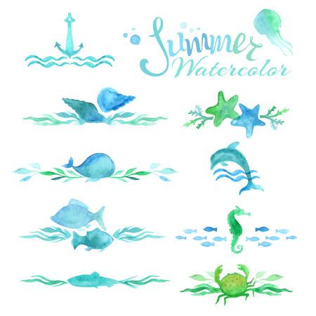 set van aquarel oceaan pagina decoraties en verdelers Stock Illustratie
