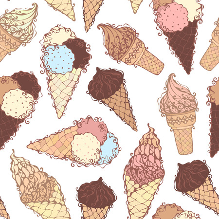 boundless: Seamless ice-cream pattern. Hand-drawn ice-cream cones on white background. Boundless background. Can be used for children wallpapers, web site background or wrapping paper.