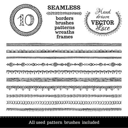 line art: set of seamless hand-drawn ethnic borders. Seamless doodles geometric borders