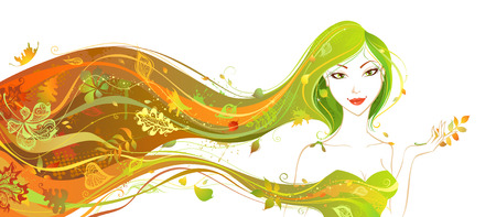 woman hair: Autumn woman. Bright autumn  illustration. Woman with abstract elements, leaves and patterns isolated on white background.
